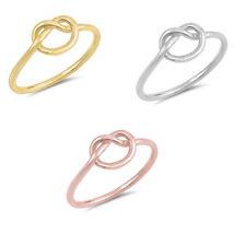 Love Heart Infinity Knot Twisted Yellow,Rose 925 Sterling Silver Promise Ring