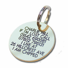 Pet Dog Cat ID Collar Tags - Deeply engraved for FREE, 39mm Brass Disc. QUALITY