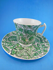 Royal Chelsea English Bone China Cup and Saucer Green Paisley Floral England