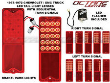 67-72 Chevy GMC Truck LED Tail Light SEQUENTIAL Turn Signal Lens Pair w/ Flasher