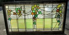 ANTIQUE ARTS & CRAFTS STAINED GLASS WINDOW W/VINE & LEAVES CINCINNATI ESTATE#516