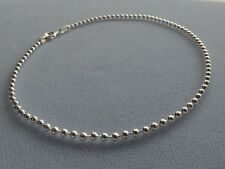 "ITALIAN STERLING SILVER- 10""- ROUND BEAD LINK ANKLE BRACELET- ITALY 925"