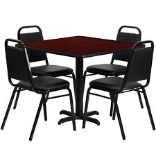 "Restaurant Table Chairs 36"" Mahogany Laminate with 4 Trapezoidal Back Banquet"