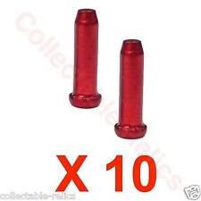 10 X RED Bicycle Brake Cable End Crimps Alloy Cap Old School BMX MTB Road Bike