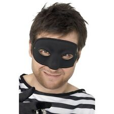 Unisex Burglar Eye Mask Fancy Dress Plain Black Costume Masquerade Robber Thief