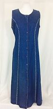 Vintage 80's Denim Jumper Sleeveless Dress. Small. Embroidered.