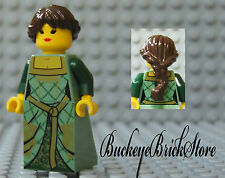 NEW Lego Castle FEMALE MAIDEN MINIFIG - Brown Hair Princess Green Kingdoms Dress