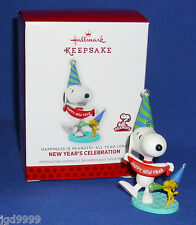 Hallmark Ornament Happiness is Peanuts #6 2013 Snoopy Woodstock New Year's Eve
