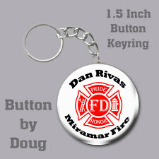 Firefighter Keyring/Bag Tag Personalized with Name  1.5 Inch Charm
