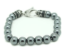 Genuine Hematite Bracelet Stainless Steel Shiny Ball Bead Round Gemstone Skull