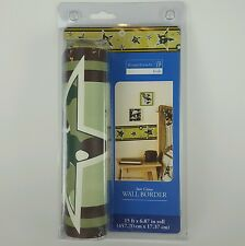 Home Trends Kids Star Camo Wall Border Wallpaper Camouflage Green Boys 15 Ft New