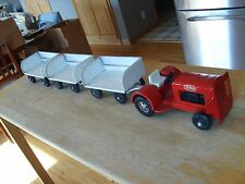 PRESS STEEL TOYS - RARE RED TONKA AIPORT TRACTOR & TRAILERS