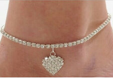 NEW Lady Crystal Rhinestone Love Heart Anklet Women Ankle Bracelet Chain Jewelry