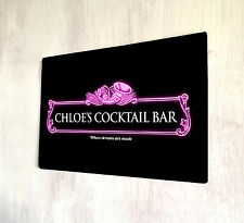 Personalised Pink Cocktail neon Bar sign A4 metal Door Plaque