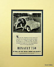 Vintage Advertisement mounted ready to frame Renault 750 French Car 1951