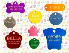 DOG CAT PET ID TAGS MADE FROM ANODIZED ALUMINUM AND CUSTOM LASER ENGRAVED