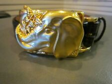 RARE KIESELSTEIN-CORD GOLD TONE ELEPHANT BELT BUCKLE AND LIZARD BELT