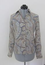LORO PIANA SLATE BLUE PAISLEY BUTTON DOWN SILK BLOUSE - ITALY 40, US 4