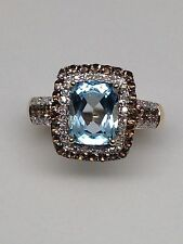 NEW 10K Yellow Gold Blue Topaz Ring with Smokey Topaz and White Diamond Halo