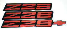 82-92 Camaro Z28 Red Rocker Panel Emblem Set of 3 NEW