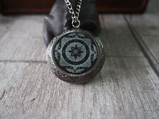 Medieval Pattern Oxidized Silver Round Picture Locket Pendant Necklace