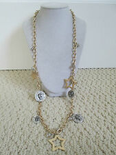 NWT Auth Betsey Johnson Stargazer Star Skull Goldtone Charm Chain Long Necklace
