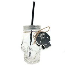 Skull Drinking Jar & Straw Cocktails Shots Novelty Mug Scary Anatomy Fun GIFT