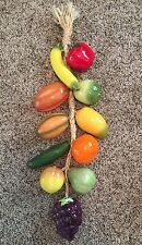 Large Wall Hanging Ristra/String of Ceramic Fruit and Vegetables Mexico