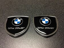 Metal BMW Power Emblem (2pcs) Side Badge Sticker Decal Fender Hood Trunk Door