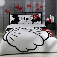 Mickey Minnie Mouse Bedding Set 100% Cotton Quilt / Duvet Cover Set Double 4 pcs