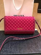 NWT PRADA Authentic Tessuto Quilted Nylon Soft Calf Leather Crossbody Wallet