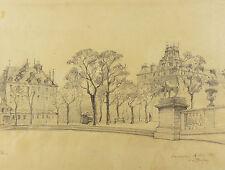 RARE:Henri-Alexandre SAFFREY(XIX-XX)Jardin du Luxembourg Paris cityscape Drawing