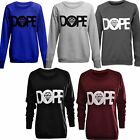 Womens Ladies Long Sleeve Diamond Dope Print Sweatshirt Jumper Top UK 8 10 12 14