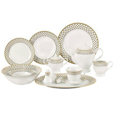 Annabelle 57 Piece Porcelain Dinnerware Set for 8 Gold and Silver Lattice Border