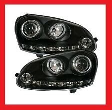 VW Golf 5 V LED DRL & Angel Eye Black Projector Headlights Brand New Boxed