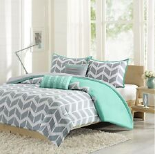 Comforter Set For Teen Girl Boy Twin Teal Blue Gray White Chevron Bed Bedding