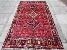 Old Hand Made Traditional Persian Oriental Wool Red Brown Large Rug 247x143cm