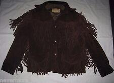 Vtg Trego's Westwear Brown Fringe Genuine Leather Suede Jacket Womens 12 S/M