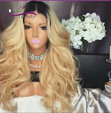 Full celebrity ash  blonde wavy lace front wig. Human hair blend