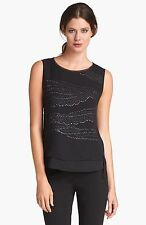 NWT Elie Tahari Jenna Black Silk Beaded Sequin Top S $298