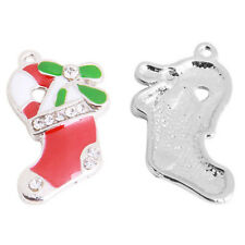 10x Hot Sale Charms Alloy Red Green Enamel Resin Paved Christmas Boots Pendant L