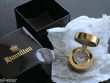 HAMILTON WATCH CO, SOLID BRASS SMALL QUARTZ DESK CLOCK, BRAND NEW w/BOX & PAPERS