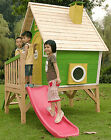 Peek-A-Boo Playhouse, Kid's Cubby House, Cubbie With Slide & Chimney - Green