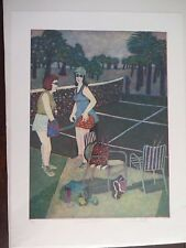 "Carole Sue Lebbin Etching ""SOCIAL TENNIS"" Signed/Numbered 5/25"
