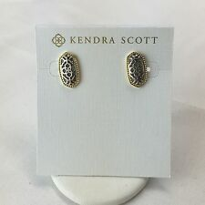 NEW Authentic Kendra Scott BRYANT Logo Filagree Stud Earrings Gold & Silver $55