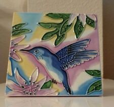 Ceramic Tile Blue Hummingbird Flowers 4x4 Vibrant Art Hand Painted Wall Decor
