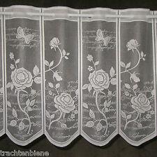 Scheibengardine Schmetterlinge Rosen Schrift Blätter Ranken n. Maß 14,5 x 44 cm