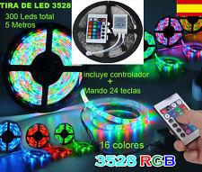 TIRA DE LEDS 300 LEDS 3528 RGB 16 COLORES  ROLLO  5 METROS MANDO Y CONTROLADOR