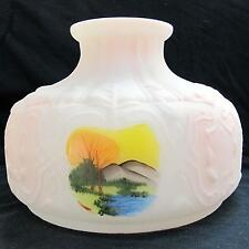 "10"" GLASS hand painted oil lamp SHADE, ALADDIN BRAND SWISS N550 -Pink-Peach-Opal"