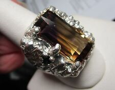 MENS 12.10CT BRIGHT AMETRINE SET IN A STUNNING STERLING SAPPHIRE HANDSOME RING